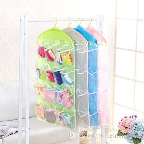 Storage Bag 16 Grids Wardrobe Door Wall Hanging Type Multi Function Underwear Sock Sundries Save Space Home Practical 3 3tt F R