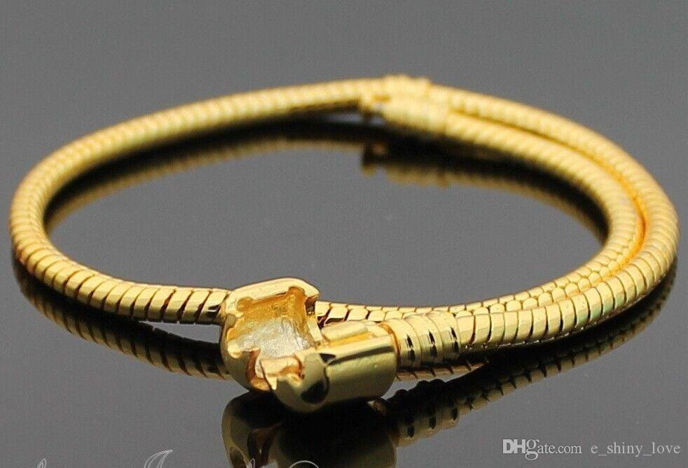 Wholesale in Bulk Low Price Copper Gold Stamp 925 Snake Chain Bracelets Fit European Charm Beads 16cm to 23cm