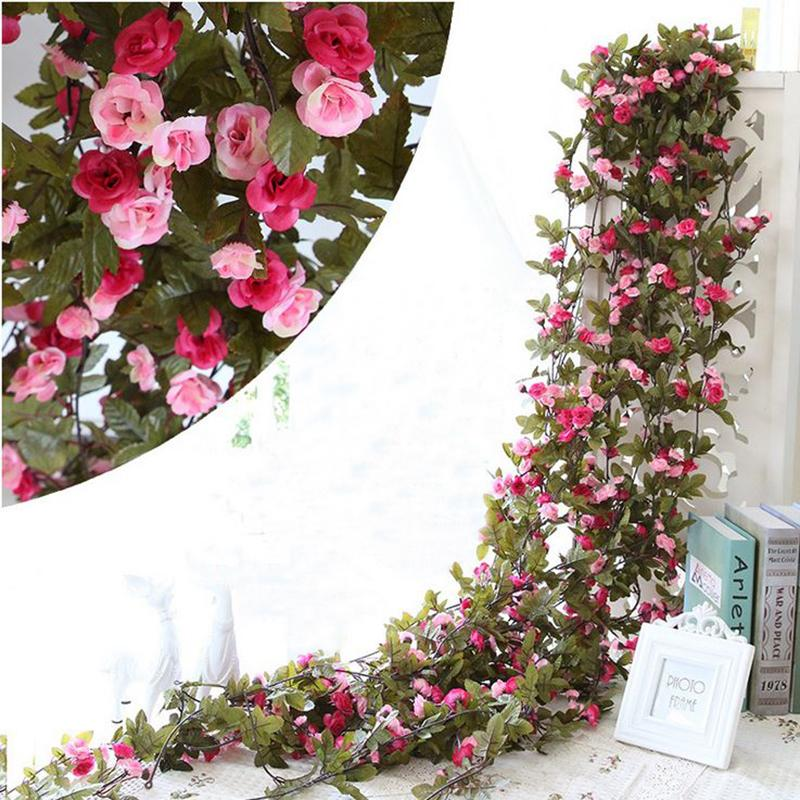 simulation roses rattan fake flower vine living room wall false