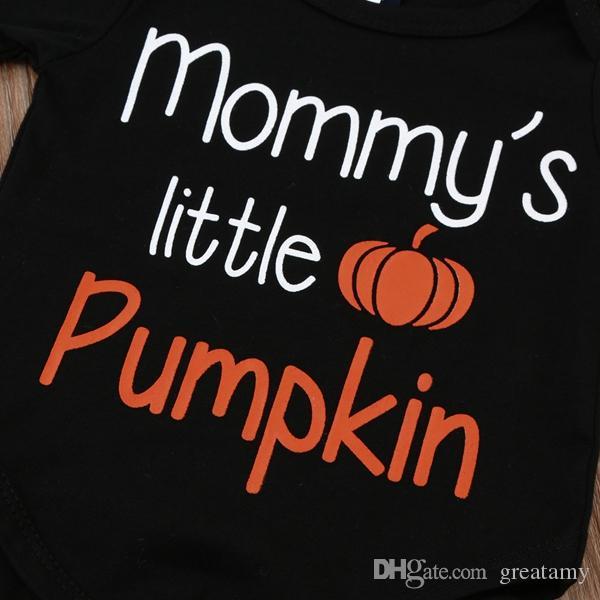 Baby Xmas Halloween zucca abiti bambini auto albero di Natale stampa cappello + pagliaccetto + pantaloni 3 pezzi / set bambini vestiti di cotone 3 stili