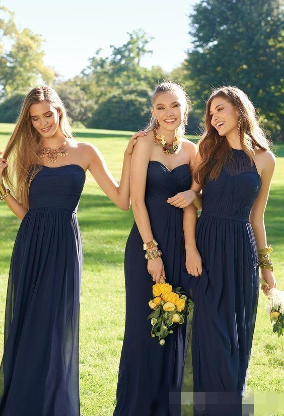 Pembe Donanma Ucuz Uzun Gelinlik Modelleri Karışık Boyun Çizgisi Akış Şifon Yaz Allık Gelinlik Örgün Balo Parti Elbiseleri Ruffles