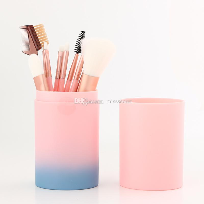 Pinceles de maquillaje Set Face Foundation Powder Brush Corrector de maquillaje profesional Blush Eye Shadow Shadow Make Up Pincel Set con taza