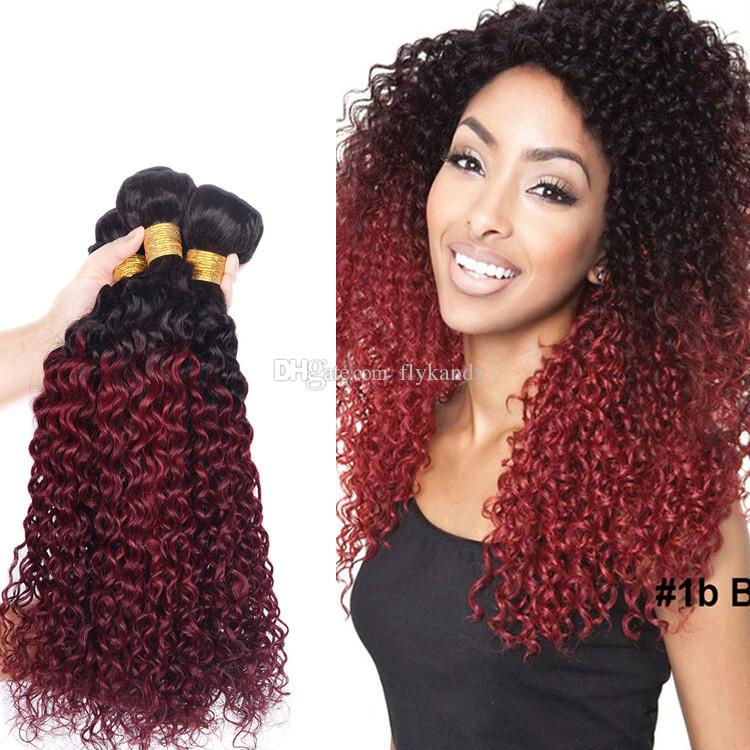 1b 99j Ombre Kinky Curly Human Hair Weave Extensions Dark Root Two