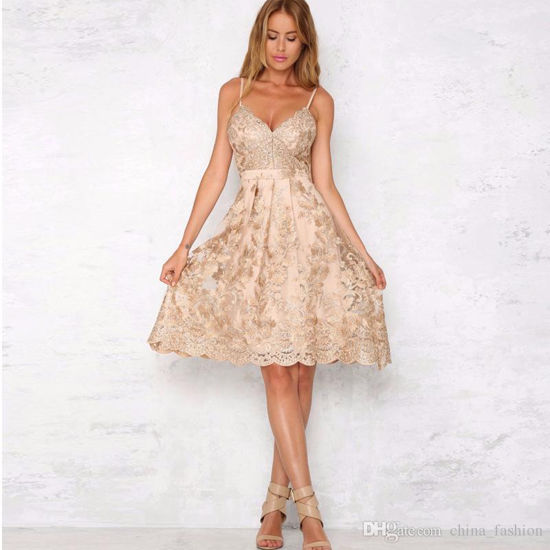 Ladies Floral Embroidered Prom Dress Slim-Fit Bustier Midi Skate ...