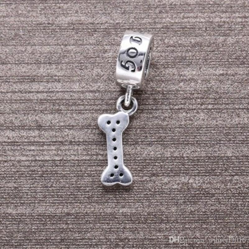 Dog Bone Charm Pendants Authentic 925 Sterling-Silver-Jewelry Dangle Pave I Love Dog Animal Charms Beads DIY Brand Logo Bracelets HB271
