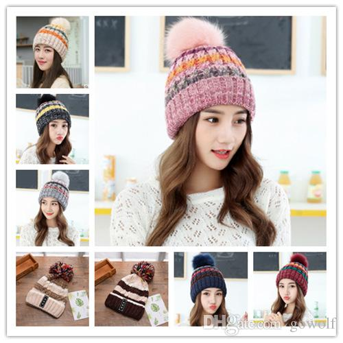 d2c89f80204 2017 Fashion 22Styles Girl s Skullies Beanies Winter Hats For Women Knitting  Cap Hat Pompoms Ball Warm Brand Casual Gorros Thick Female Cap Women Hat Hat  ...