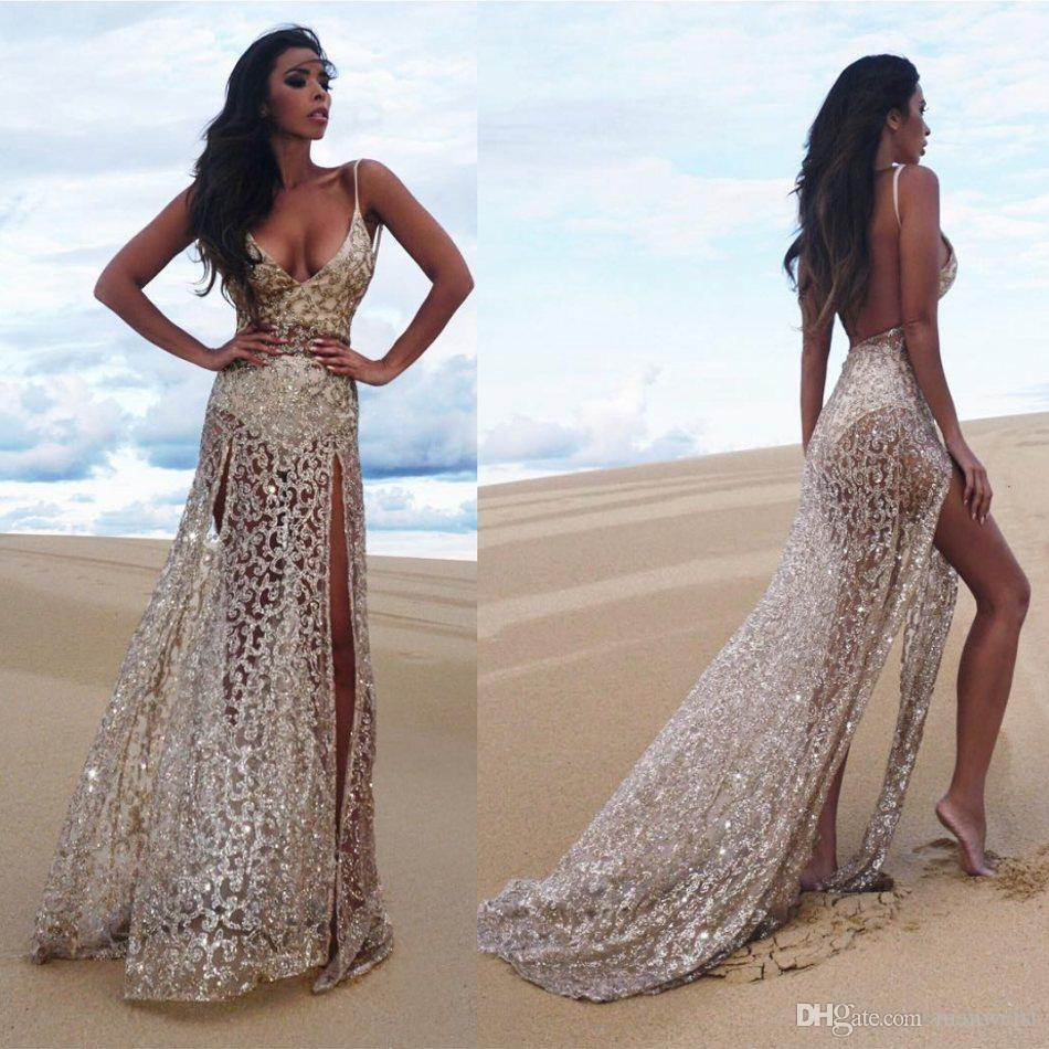 ab179001e0e Sexy Backless Side Split Evening Dresses Spaghetti Nek Lace Applique  Sequins Prom Dress Beaded Sleeveless Bling Bling Long Beach Party Gowns  Long Evening ...