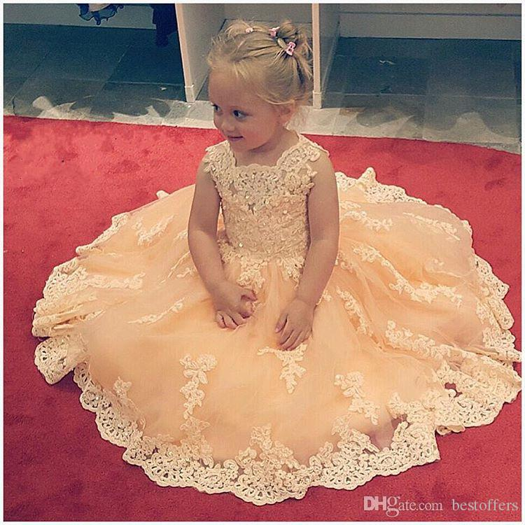 2017 Lovely Champagne Girls Pageant Dresses Vintage Lace Square Neck Princess Tulle Gowns for Child Cupcake Kids Pageant Gowns Custom