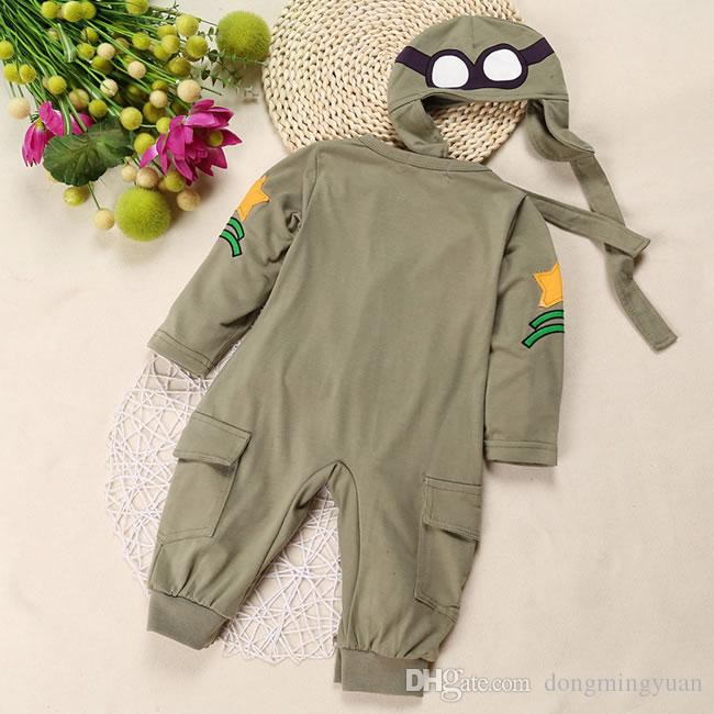 Autumn Baby Boys Romper Clothing Costume Christmas Long Sleeve Green Cotton Jumpsuit+Hat For Toddler Infant Clothes