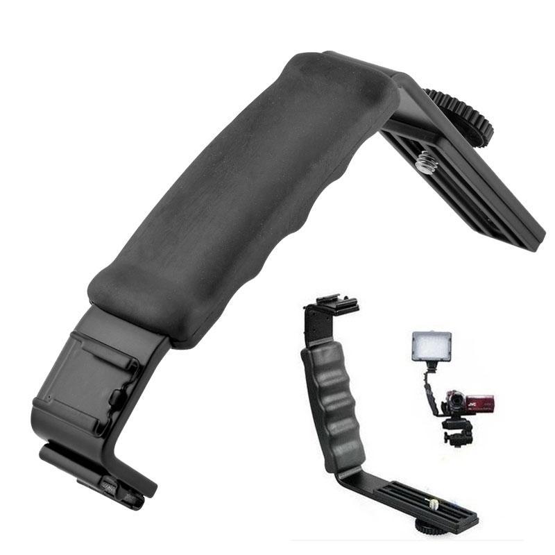 Universal Camera Grip C Shape Handheld Bracket with 2 Standard Side Hot Shoe Mount Video Light Flash DSLR Holder Camcorder Pre4best