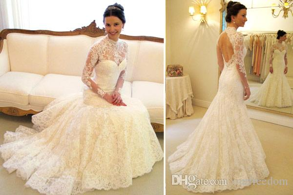 2016 Gorgeous Mermaid High Neck Wedding Dresses Illusion