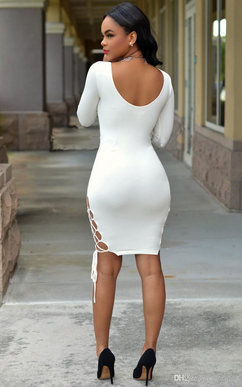 Hot Sexy Women's Night Club Dresses V-Neck Long Sleeve Split Short Party Dress White Green Red Bandage Stretch Pencil Dresses SMRF0904