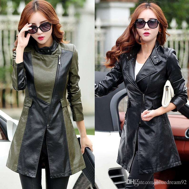 5af6f64a09822 2019 Autumn And Winter Women Leather Jacket Korean Slim PU Coat Woman  Motorcycle Jacket Brand Luxury Designer 4xl Manteaux D Hiver Pour Femmes  From ...