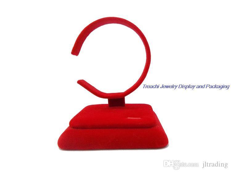 Charme portátil Pulseira De Veludo Vermelho Pulseira Tornozeleira Cadeia Titular Jóias Display Stand C Forma Rack de Ombro Caso Organizador do Relógio Frete Grátis
