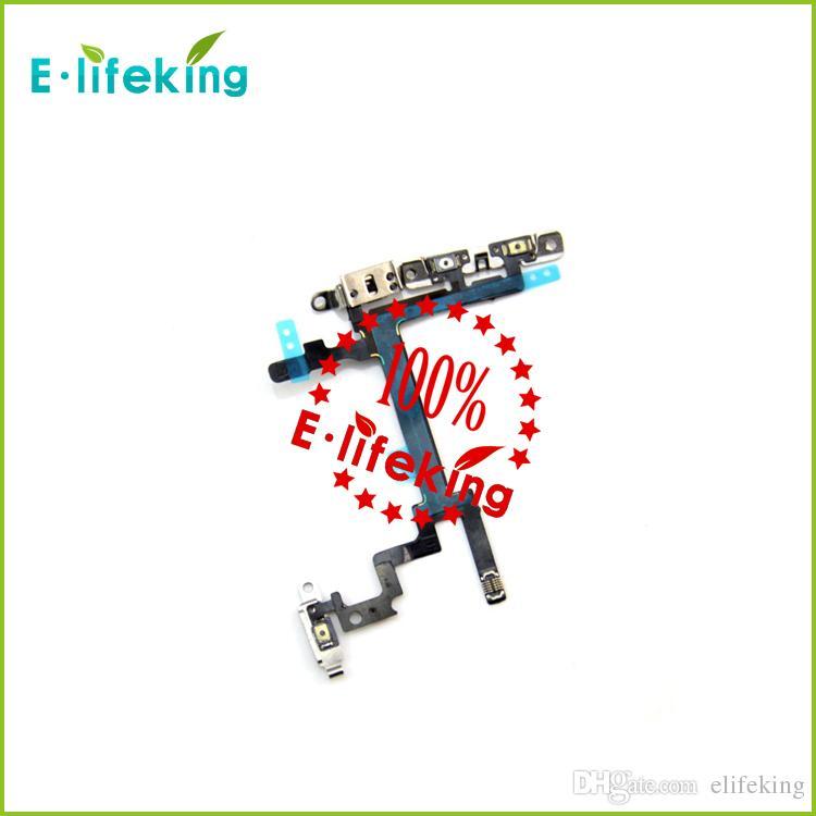 IPhone 5 için Güç Düğmesi Anahtarı Flex Kablo Ile Metal Düğme Akıllı Telefon Yedek parça hızlı kargo