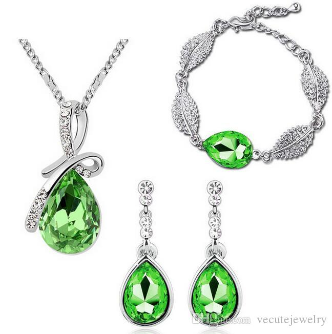 New Fashion 18K White Gold Plated Waterdrop Austrian Crystal Necklace Earrings Bracelet Jewelry Sets for Women Made With Swarovski Elements
