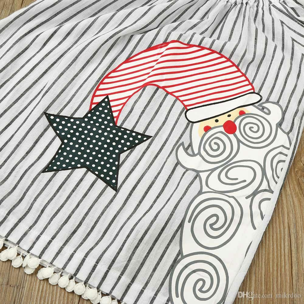 Mikrdoo Hot Baby Christmas Dress Children Princess Girl Birthday Wedding Party Dresses Kids Long Sleeve Striped Cute Snowman Star Vestidos