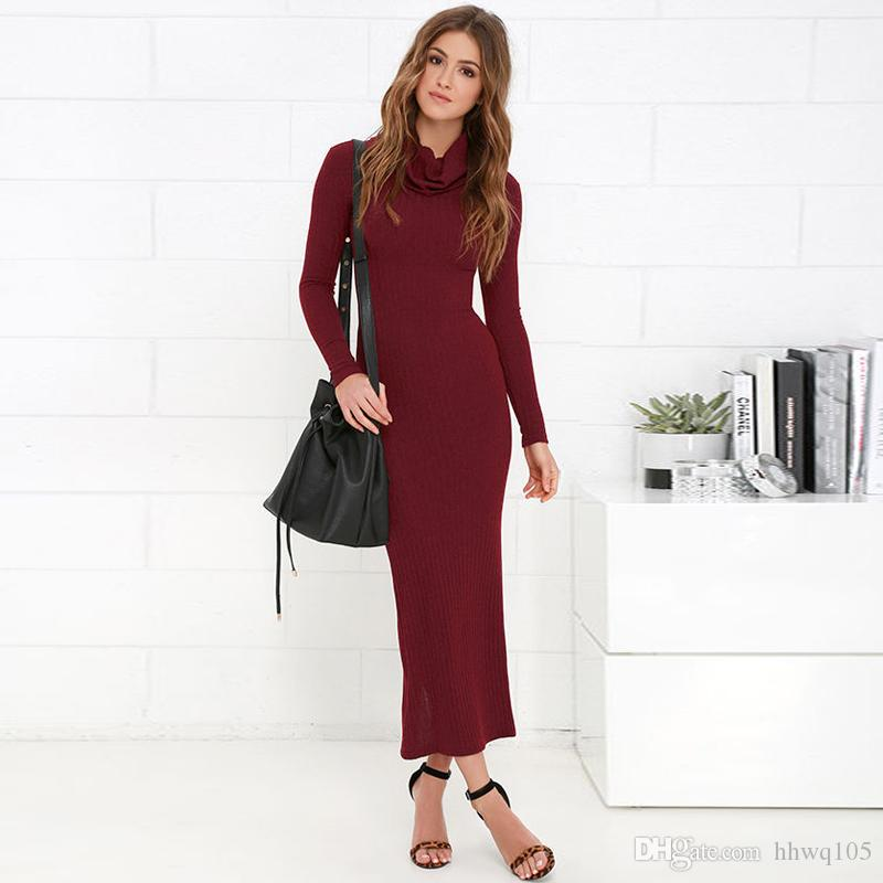 fb1b055ea3f9f Ladies Burgundy Long Knit Dress Long Sleeve Turtle Neck Split Winter Casual  Dress Pretty Women Tunic Dresses ZSJG0915 Party Dresses Teens Shop Womens  ...