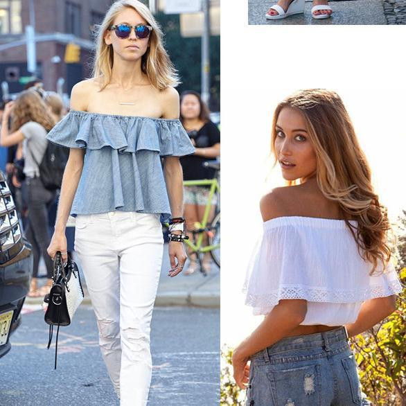 8d0abe4f839f 2019 2016 NEW Summer Fashion Trend Women S Smock Top Off Shoulder Ruffles  PETITE Structured Bardot Top Short Blouse Shirts For Lady From  Ebaywholesaler18