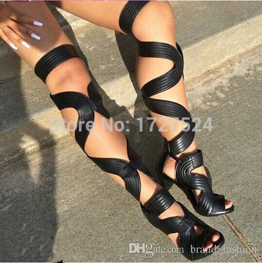 2016 Sexy Open Toe Über Kniehohe Sandalen Stiefel Schuhe Frau Gladiator High Heels Fälligkeit Lace Up Oberschenkel Hohe Stiefel Sommer Stiefel
