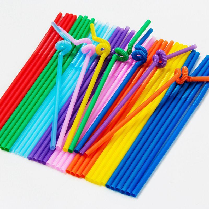 Plastic Straw KTV Bar Bunte Straw Verrückte Curly Schleife Farbige Plastiktrinkhalme für Geburtstags-Party-Bar Striped Kunststoff Strohhalme