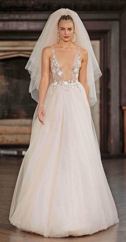 2017 New berta bridal pregnant weding dresses sexy backless deep v neckline A-line bridal gowns heavily embellished bodice wedding gowns 110