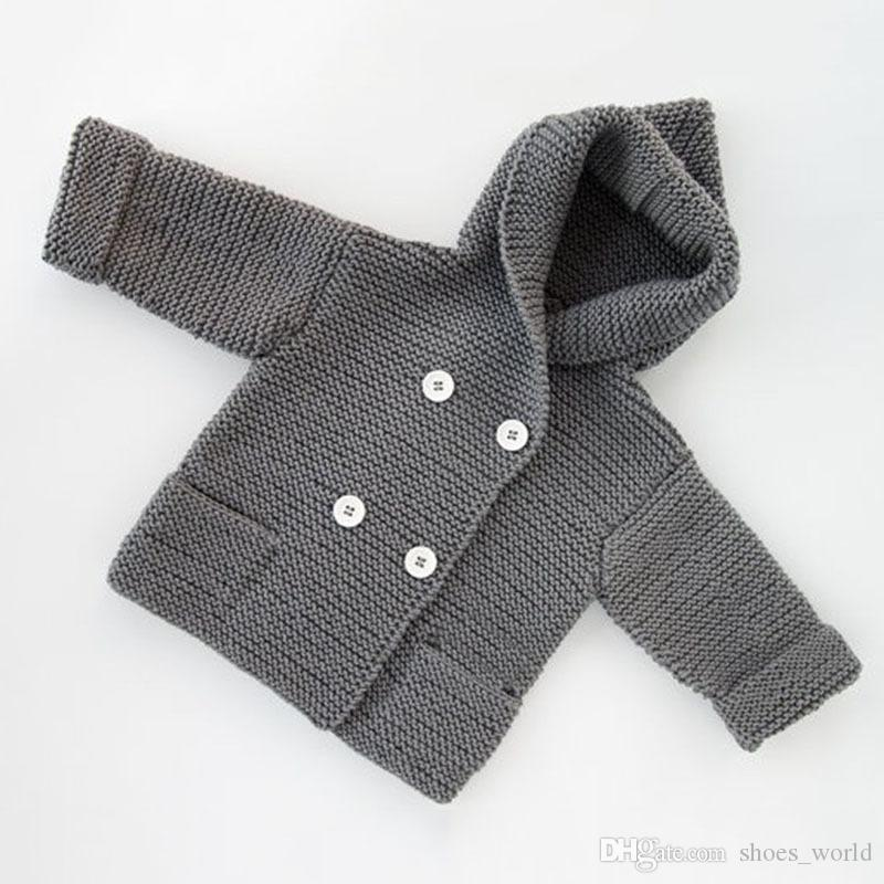 Baby Boy Girl Knitting Cardigan Winter Toddler Girls Sweaters Tops 2017 Autumn Kids Jacket Grey Long Sleeve Hooded Coat 0-24M Fashion