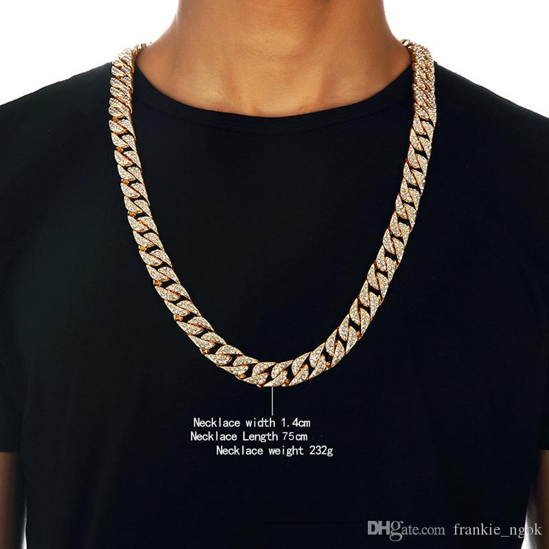 Heavy 24K Solid Gold Plated MIAMI CUBAN LINK Exaggerated Shiny Full Rhinestone Necklace Hip Hop Bling Jewelry Hipster Men Curb Chain