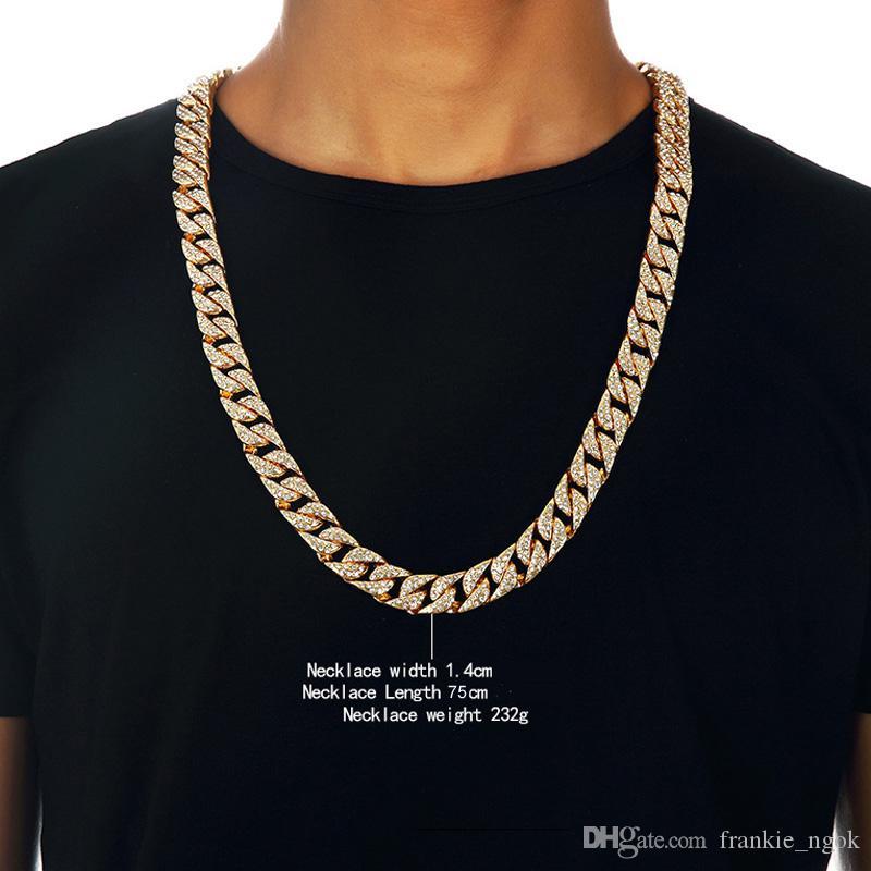 Schwere 24k fest vergoldet miami kubanische link übertrieben glänzend volle strass halskette hip hop bling schmuck hipster männer beilaus kette