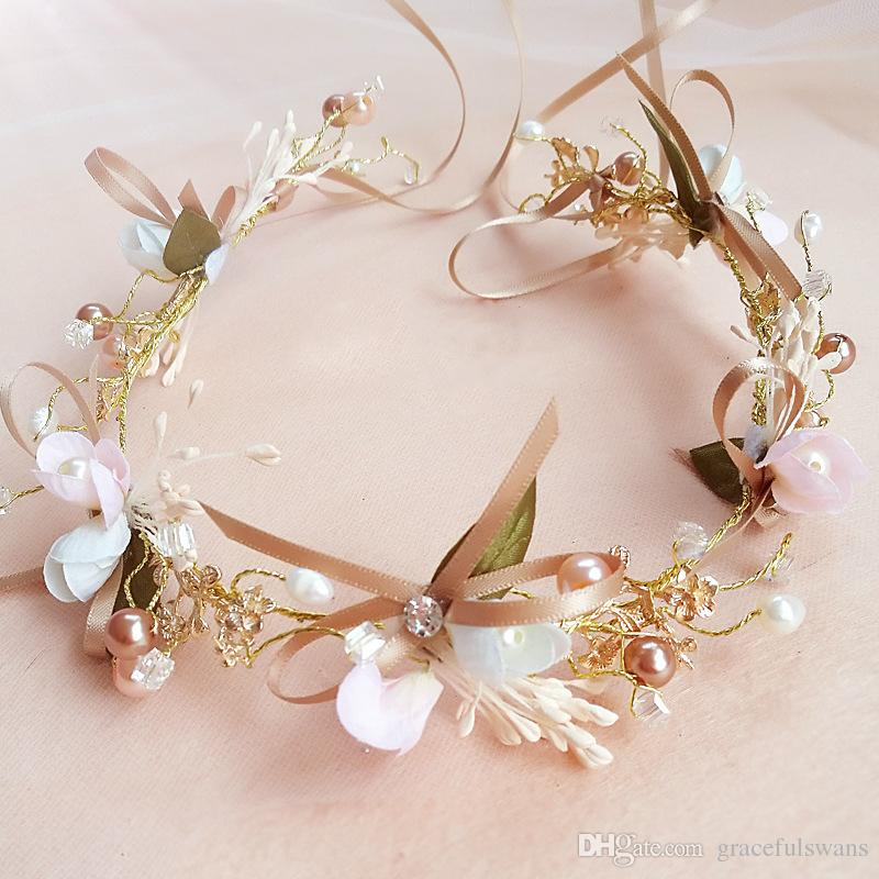 Butterfly Flowers Vintage Headpieces Hair Chains for Bridal Beaded Headband Flower Girl's Flower Crown Wedding Accessories