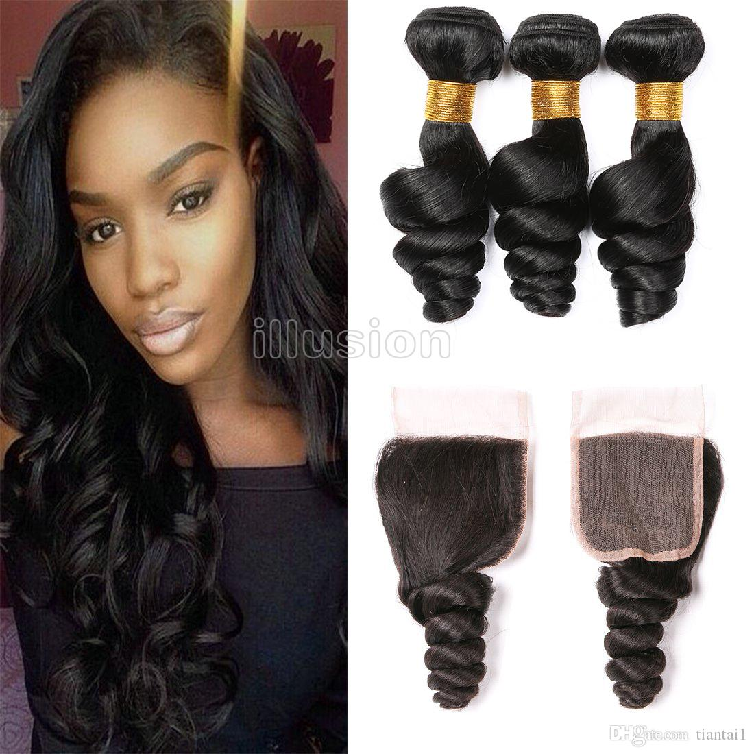 100 Virgin Hair Human Hair Extensions 3 Bundles With Lace Closure