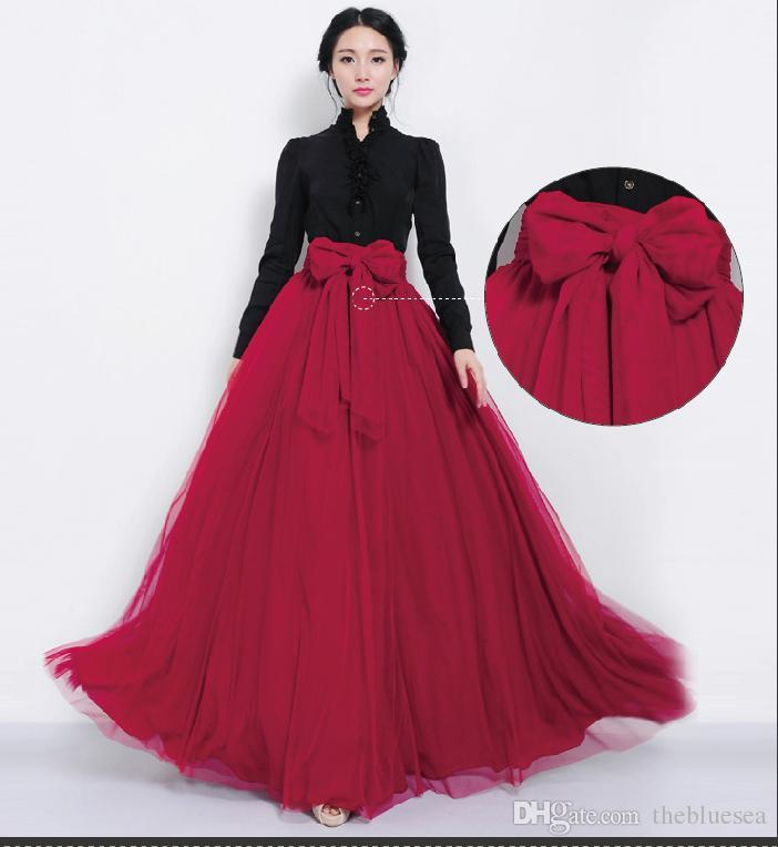 Fashion Gauze Tulle Bow Belt Maxi Tutu Ball Gown Skirt Summer Spring ...