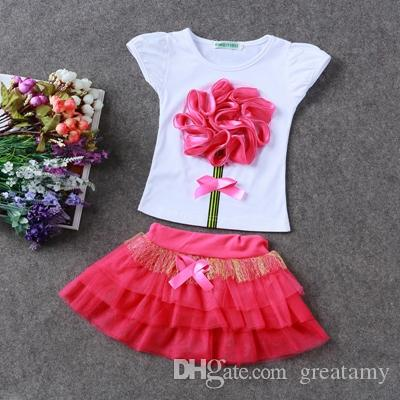 Summer Children clothing sets Baby girl Top+skirts girl flower clothes set girl's suit Kids cute toddler girls outfits outwear tz-29