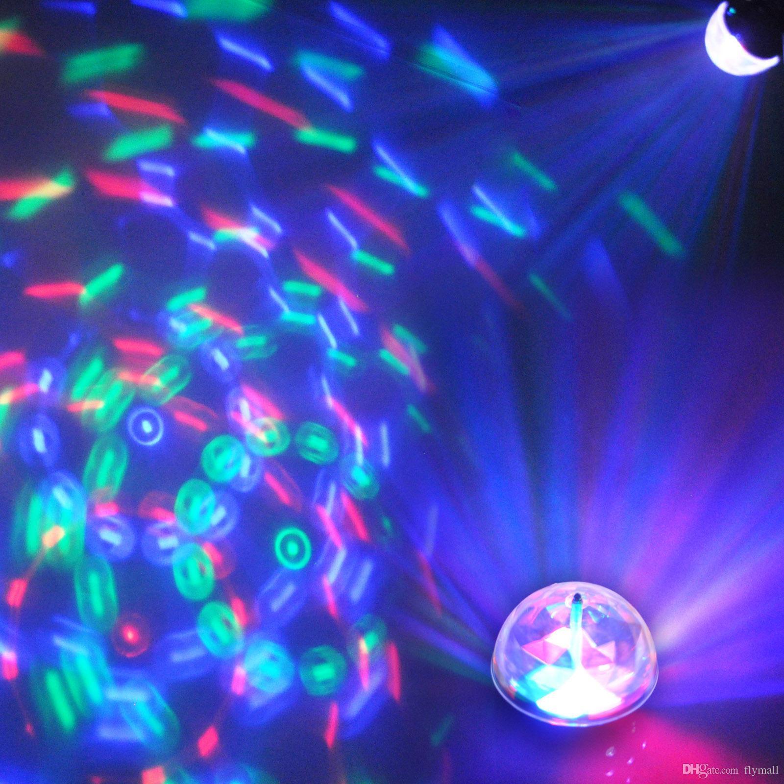3 واط rgb كامل اللون السيارات الدوارة مصباح صوت تنشيط كريستال ماجيك الكرة الليزر المرحلة ضوء لحفل زفاف ديسكو dj بار led لمبة ktv ضوء