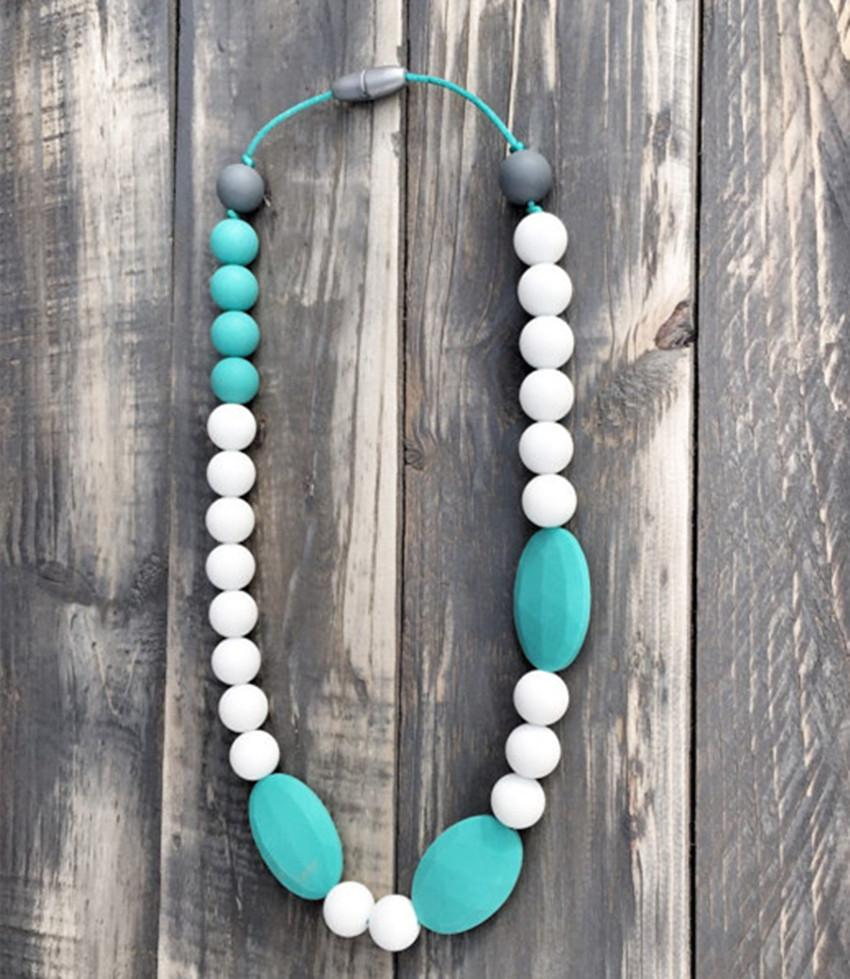 DIY Silicone Teething Bead /Nursing Necklace BPA Free, FDA Approved Food-Grade Silicone!Nursing Chewelry Necklaces/Trendy Teething Toy-M59