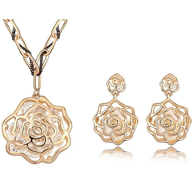 Dubai Jewelry Sets 18k Gold Plated Vintage Necklace Earrings Rhinestone Antique Rose Flower Long Chain Necklace Pendants Vintage 6663