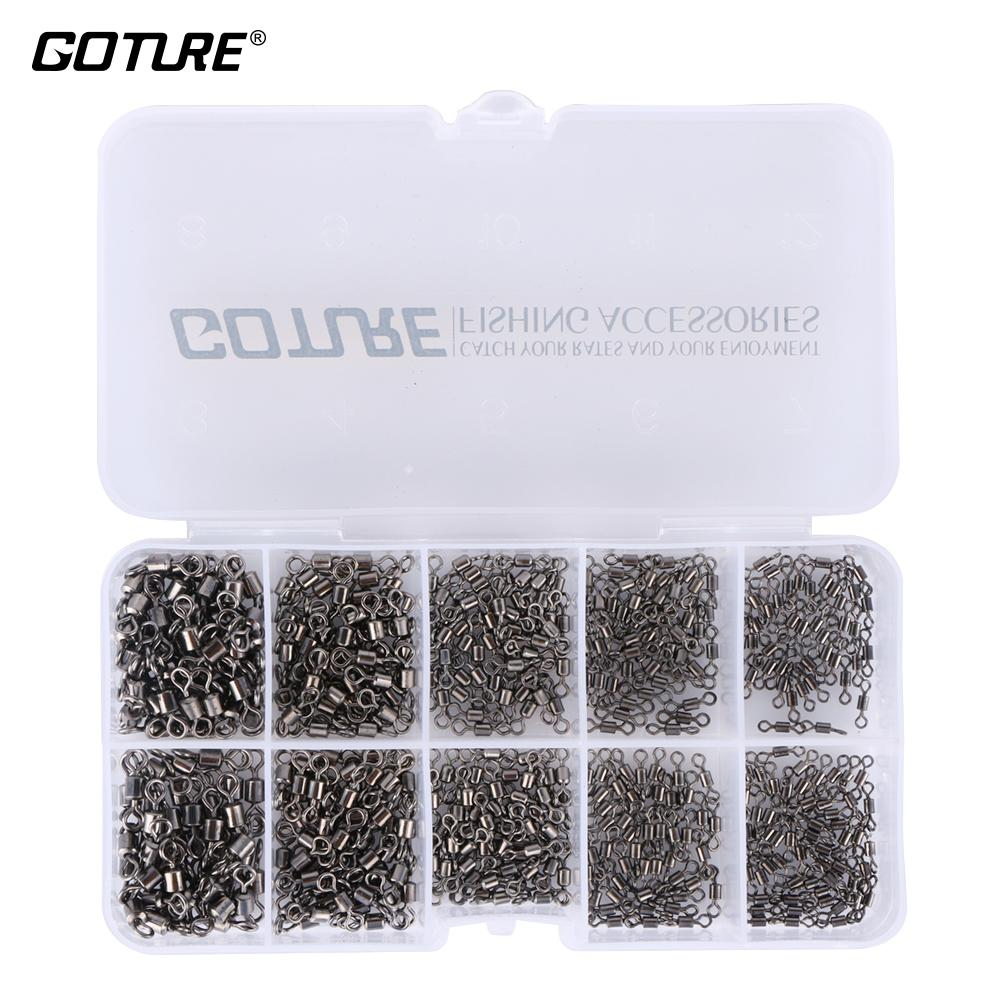Goture 500pcs /Lot 4 #6 #8 #10 #12 #Strong Fishing Rolling Barrel Swivels Fishing Tackle Accessories Line To Hook Connectors