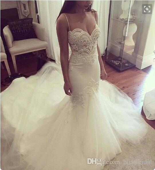 Sexy Mermaid Spghetti Straps Organza Garden Wedding Dresses 2016 Appliques Chapel Train Beach Bridal Dresses Custom Made Wedding Gowns