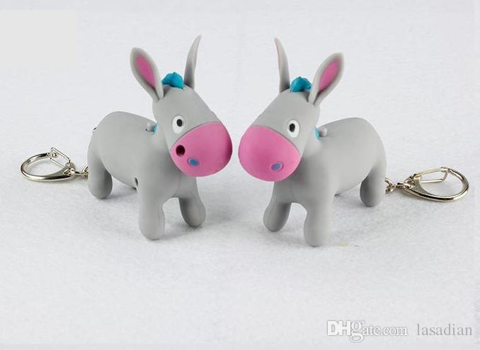 Cartoon Cute donkey keychain with donkey called sound,kawaii Led keyring  ,Mini keychain Children gift toy,Valentine s day gifts