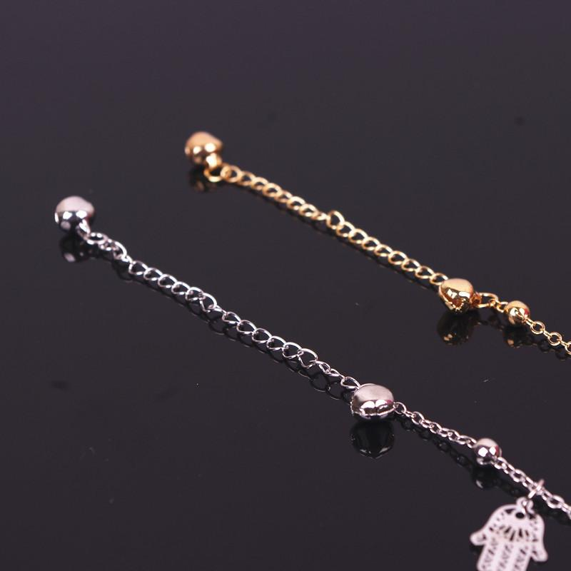 Womens Anklets Hand Metal Ball Anklet Bracelet Jewelry Tiny Bell Pattern Foot Chain Link Hamsa Hand Necklace Hand of Fatima Pendant Jewelry