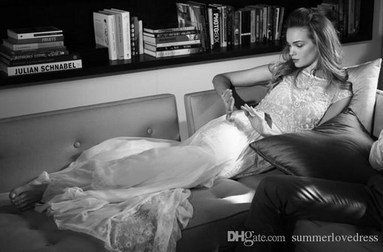 2016 robes de mariée de plage d'été deux pièces cap manches perlées paillettes dentelle mousseline de soie robes de mariage