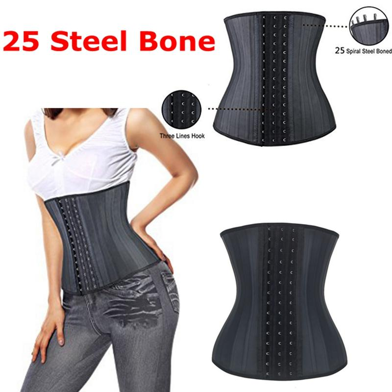 d69a40a763 Wholesale- Super Strong 25 Steel Boned Latex Rubber Waist Cinchers ...