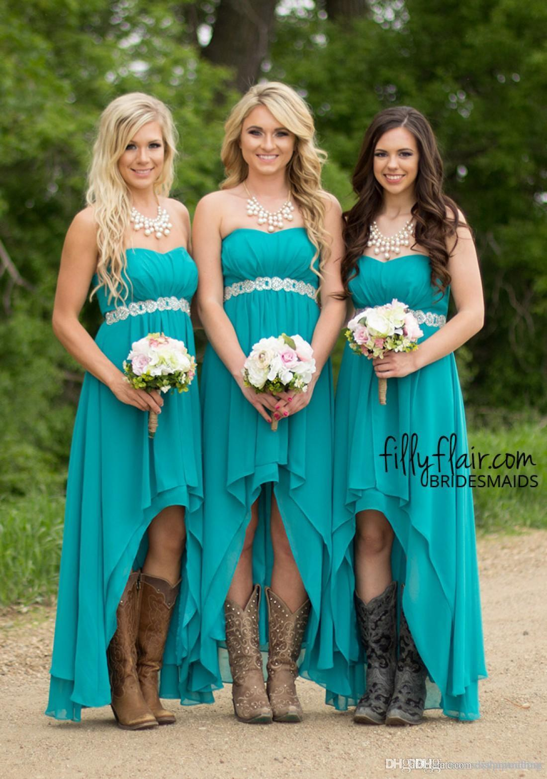 2016 Hi-lo Cheap Modest Western Country Chiffon Long Wedding Guest Gowns Beaded strapless Maternity Turquoise Beach Bridesmaid Dresses