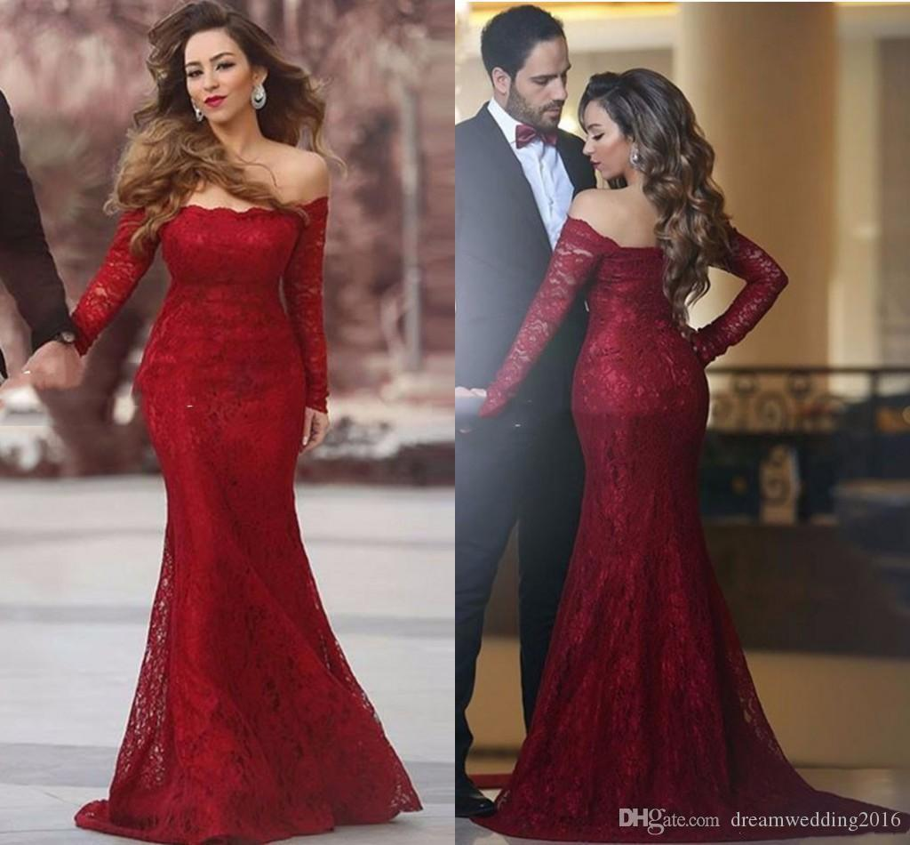 2017 New Sexy Burgundy Lace Mermaid Evening Dresses Off Shoulders ...
