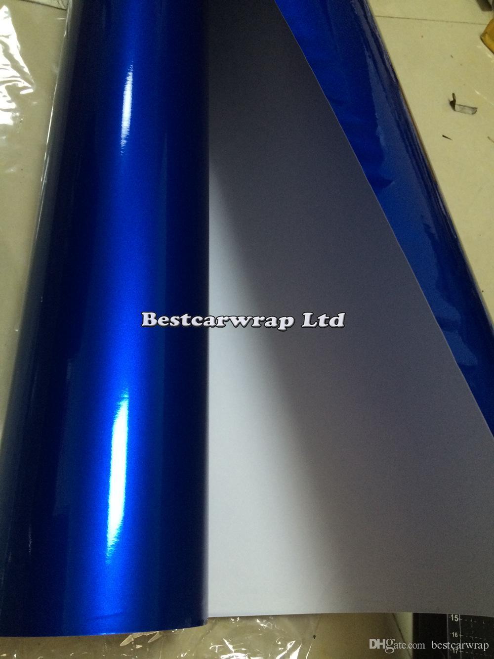 Involucro in vinile blu metallizzato lucido Con avvolgimento in auto con bolla d'aria Senza lucentezza metallizzata Blu scuro Involucro completo del veicolo Formato: 1.52 * 20M / rotolo