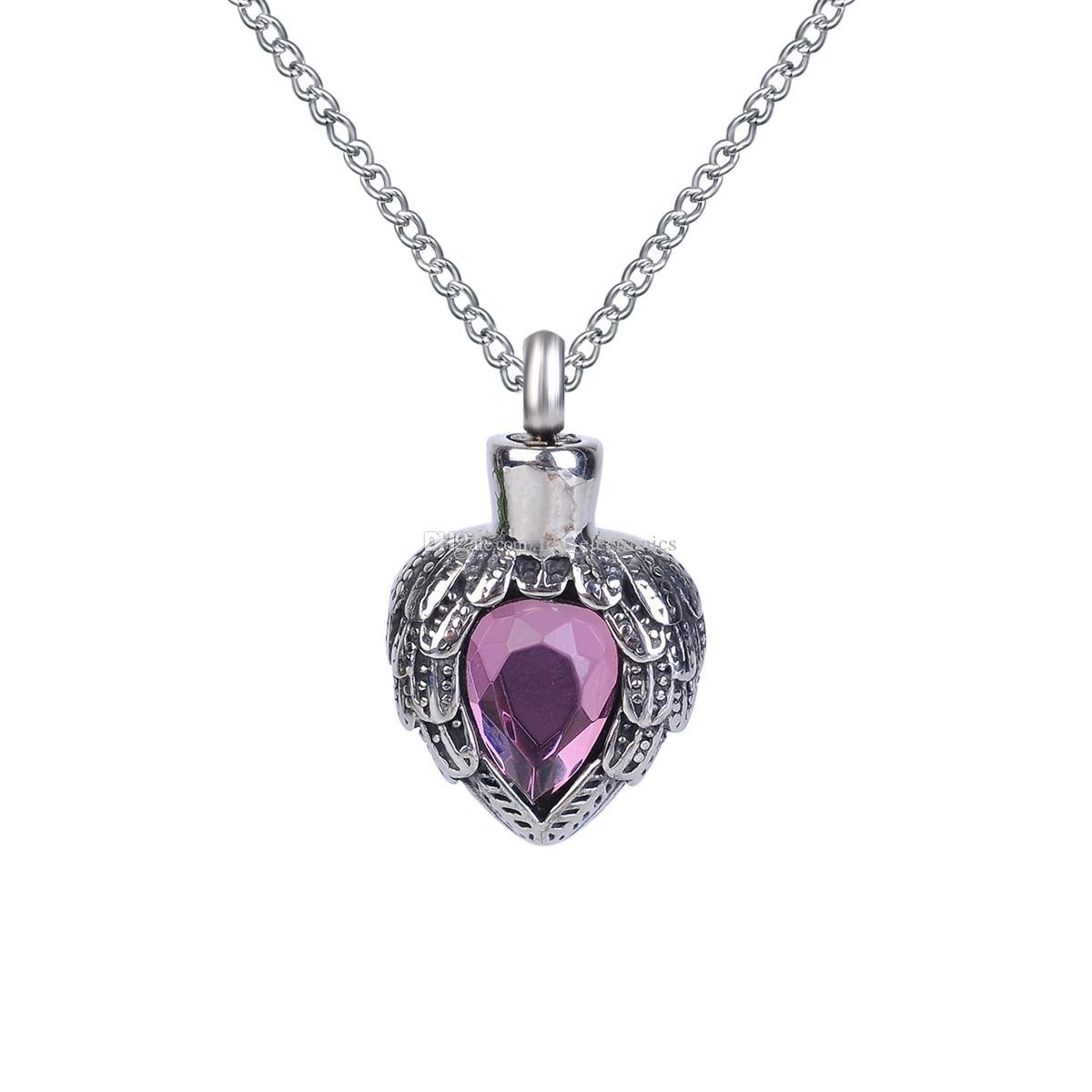 Лилия кремации ювелирные изделия фиолетовый камень сердце урна ожерелье мемориальный пепел память кулон с Мешок подарка воронка и цепи