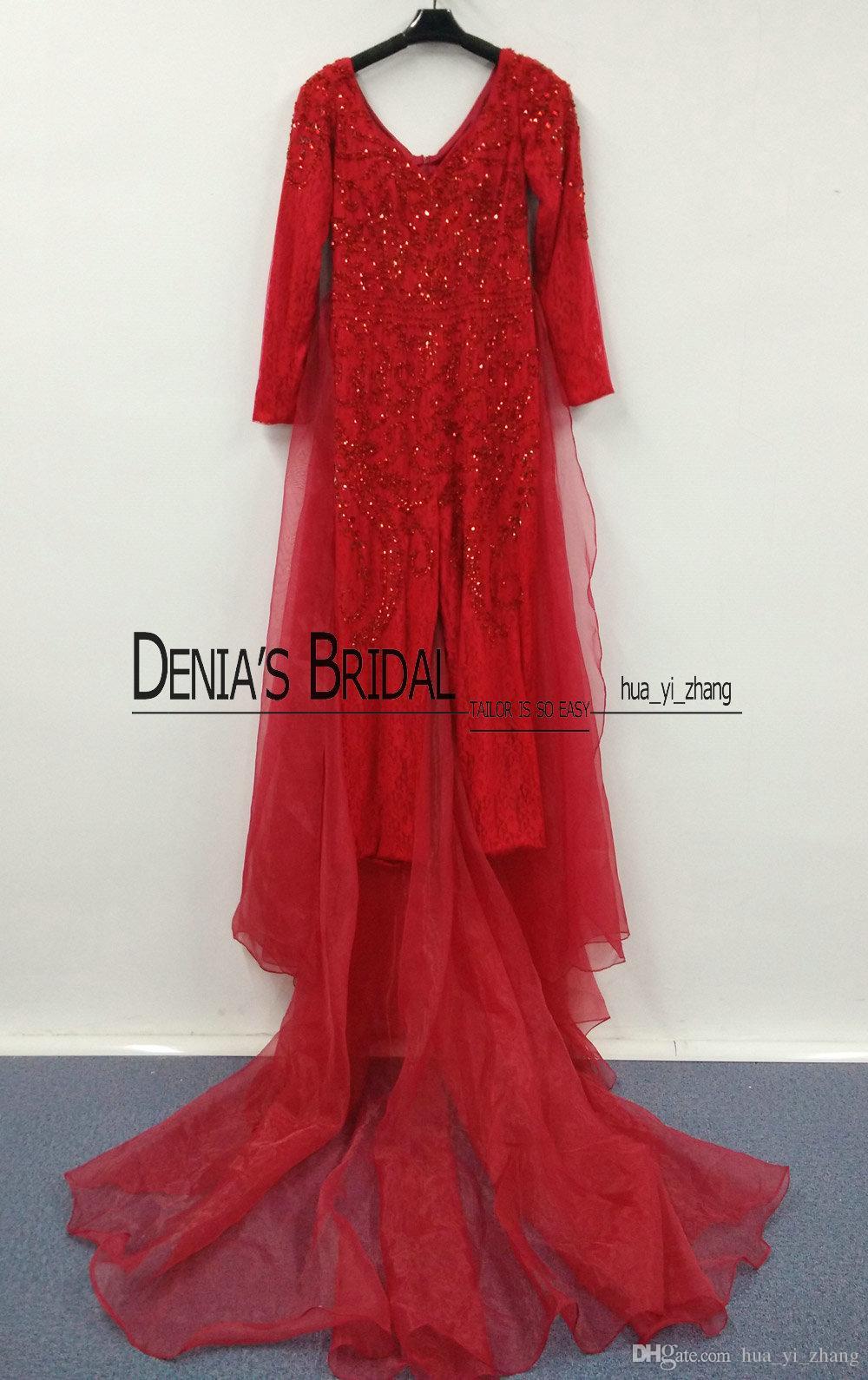 Immagine reale Myriam Fares Tuta con organza maniche lunghe maniche lunghe Blingbling Beaded 2016 Sweep Train Celebrity Gowns