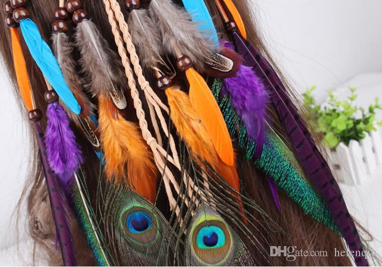 Fashion Feather Leather Rope Wood Beads Colourful Party Cosplay Danceing Headbands Headwears Bohemian Hair band