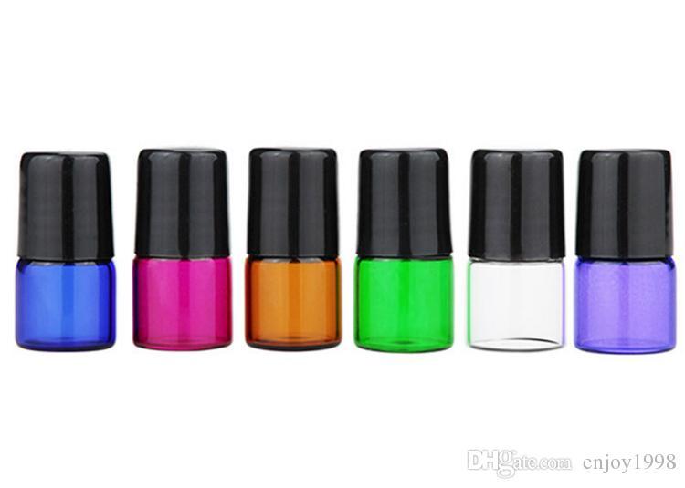 En ucuz 1ML Cam Şişe SS Ball ve Siyah Kapaklı Renkli Cam Silindir Şişeleri 1CC, 1 ml Amber Şeffaf Mor Yeşil Mavi Kırmızı Şişeler