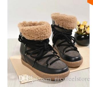 Schneeschuhe Wedges Sneakers, zwei Schnürsenkel, Pelz Lämmer Wolle echtes Leder 3-Stile, Größe 35 ~ 41, Damenschuhe